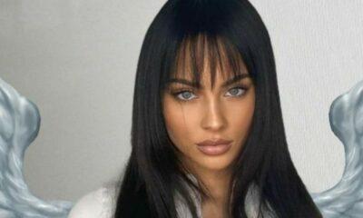 kasia lenhardt grzywka niebieskie oczy brunetka modelka