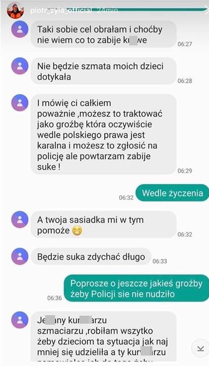 Wiadomości Justyny Żyły do Piotra Żyły