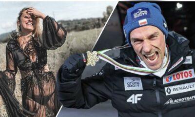 Justyna Żyła w halce i Piotr Żyła ze złotym medalem mistrzostw świata