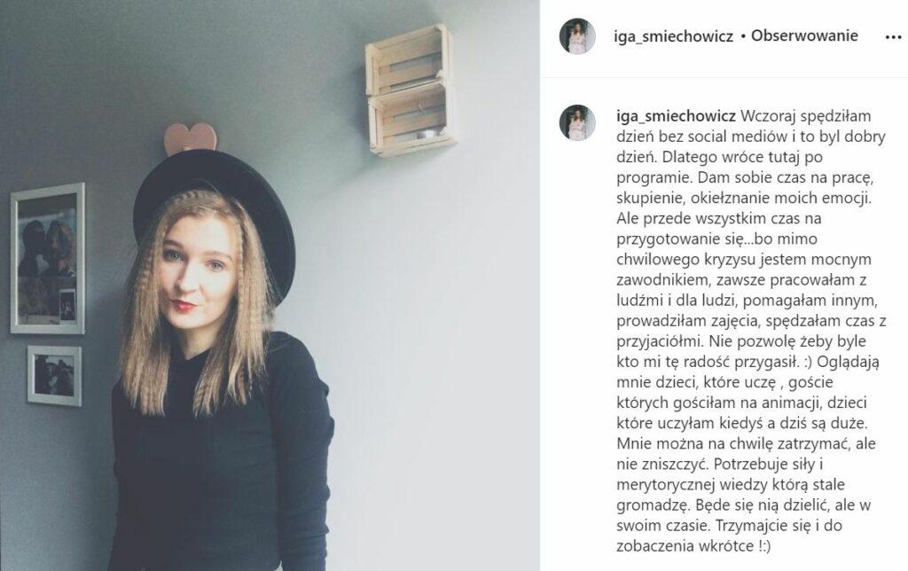 Iga Śmiechowicz znika z Instagrama