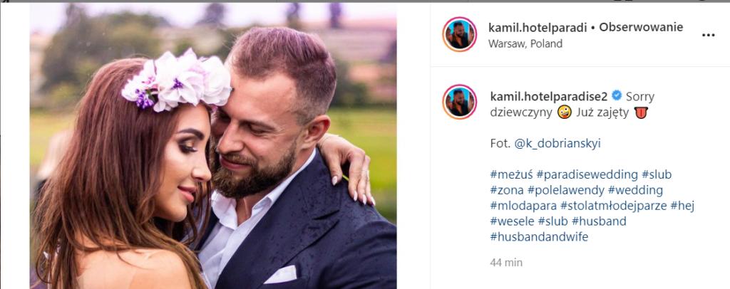 Ślubne zdjęcie Nathalii i Kamila. Para jest po ślubie?