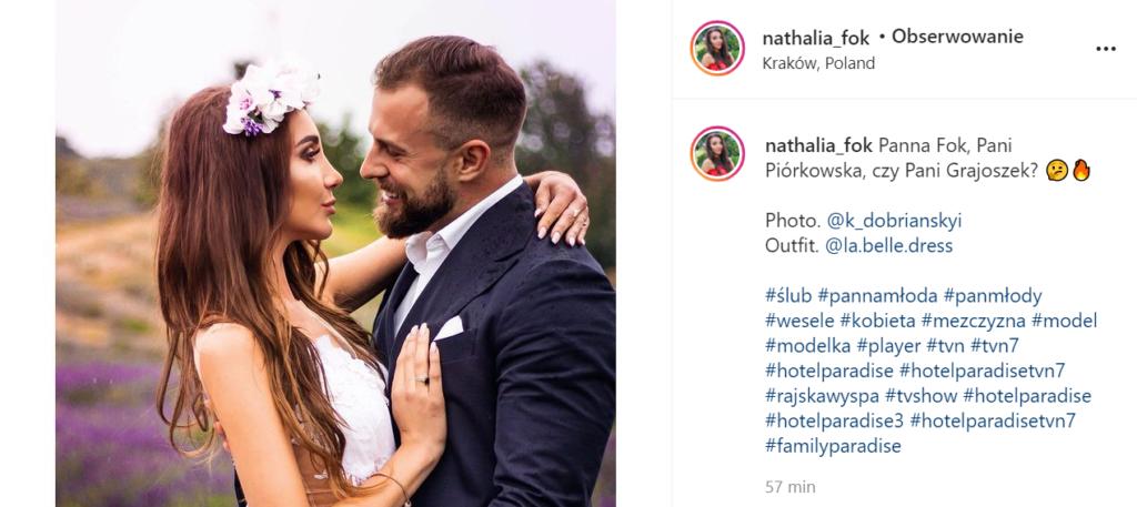 Ślubne zdjęcie Nathalii i Kamila z Hotelu Paradise.