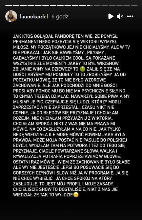 Oświadczenie Klaudii Kardel.